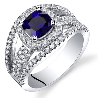Oravo Women's Sterling Silver Sapphire Cubic Zirconia Fashion Ring