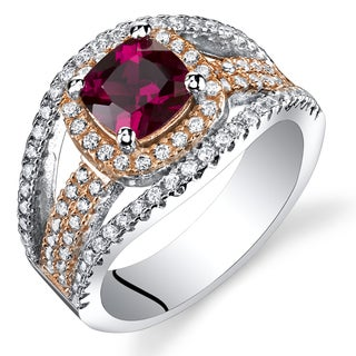 Oravo Rose Tone Sterling Silver 1 1/4ct Created Ruby Cubic Zirconia Fashion Ring