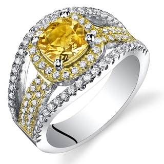Oravo Women's Sterling Silver 0.75-carat Cushion-cut Citrine Ring