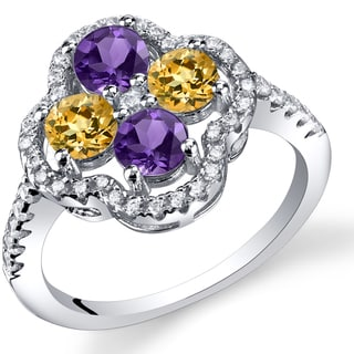 Oravo Sterling Silver 1.00-carat Amethyst and Citrine Clover Ring