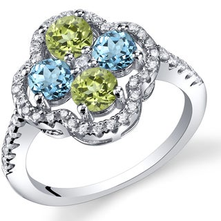 Oravo Sterling Silver Blue Topaz and Peridot Clover Fashion Ring