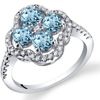 Oravo Sterling Silver 1-carat London Blue Topaz Clover Ring