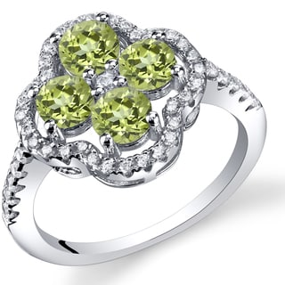 Oravo Sterling Silver 1.00 Carat Peridot Clover Ring