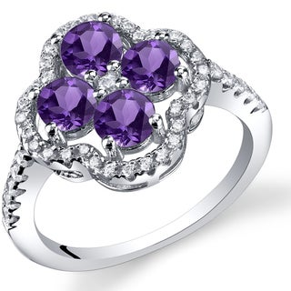 Oravo Sterling Silver 1-carat Amethyst Clover Ring