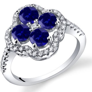 Oravo Women's Sterling Silver 1-carat Created Sapphire Clover Ring
