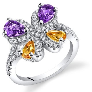 Oravo Sterling SIlver 1-Carat Amethyst and Citrine Butterfly Ring