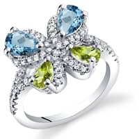 Oravo Sterling Silver Swiss Blue Topaz and Peridot Butterfly Ring