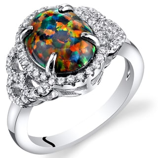 Oravo Black Opal Rhodium-finished Sterling Silver 1.25-carat Cocktail Ring