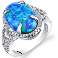 Oravo Sterling Silver 2.25 Carats Created Blue Opal Halo Ring