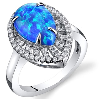 Oravo 1.50-carat Created Blue Opal Sterling Silver Tear Drop Cabochon Ring