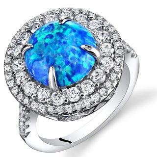 Oravo Rhodium Finished Sterling Silver 1.50-carat Created Blue Opal Concentric Ring