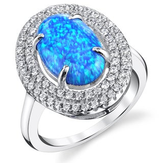 Oravo Sterling Silver 1.75-carat Created Blue Opal Double Row Ring