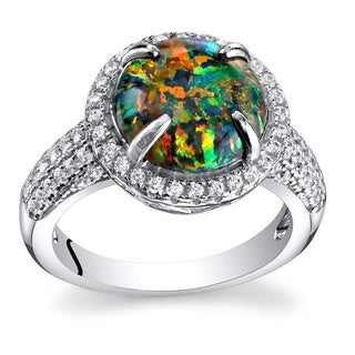 Oravo 1.50-carat Black Opal Sterling Silver Round Cabochon Ring
