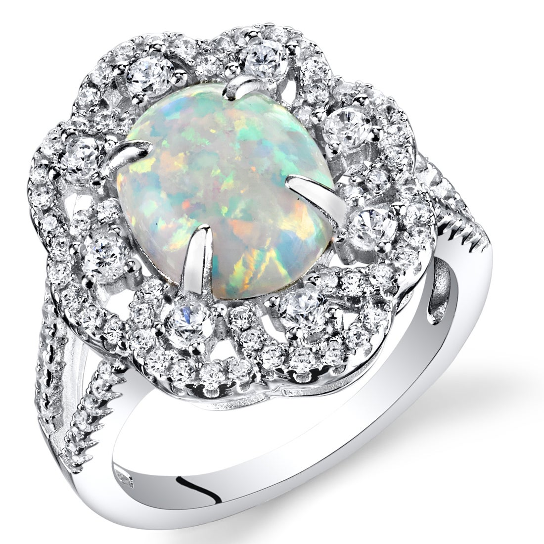 Created Opal Halo Ring Sterling Silver 1.25 Carats Sizes 5 to 9