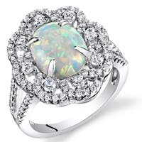 Oravo Women's Sterling Silver 1.25-carat Created Opal Oval Cabochon Victorian Ring