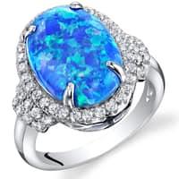 Oravo 2.25-carat Created Blue Opal Sterling Silver Designer Ring