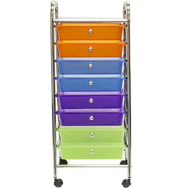 Sorbus 8 Drawer Multi Color Organizer Rolling Cart