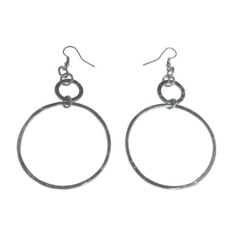 Isla Simone - Fine Silver Plate Extra Large Diamond Cut Drop Earring