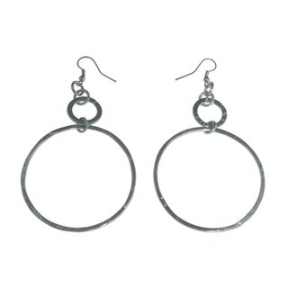 Isla Simone - Fine Silver Plate Extra Large Diamond Cut Drop Earring