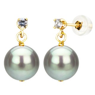 DaVonna 14k Yellow Gold 1/10tcw Diamond 9-10mm Grey Freshwater Cultured Pearl Stud Earrings