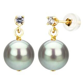DaVonna 14k Yellow Gold 1/10tcw Diamond 9-10mm Grey Freshwater Cultured Pearl Stud Earrings
