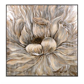 Dhalia Oil Painting with Frame (40.25 inches long x 40.25 inches high x 2.25 inches wide) - Black/Brown