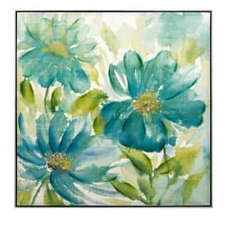Linnea Oil Painting with Frame (40.25 inches long x 40.25 inches high x 2.25 inches wide) - Blue