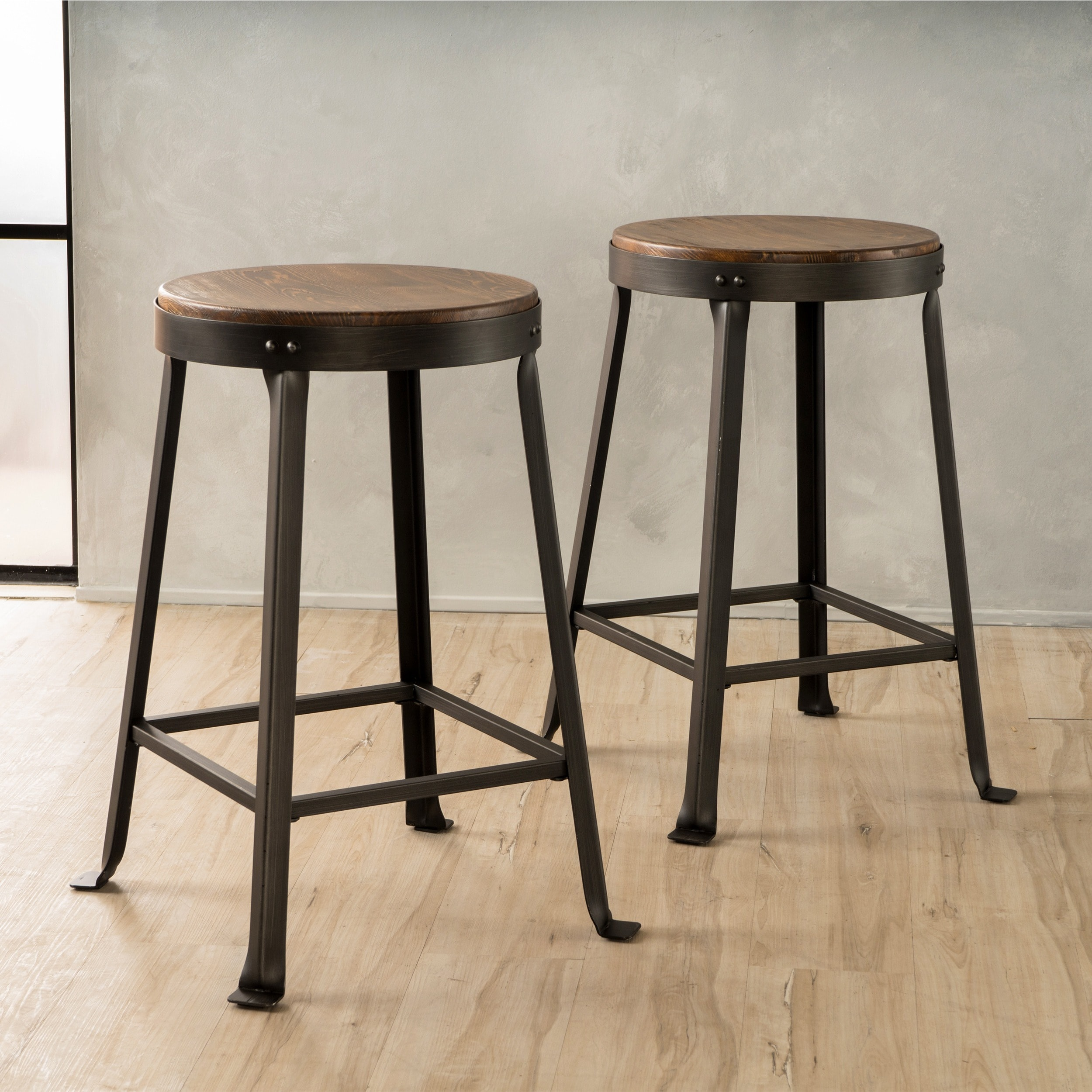 Emery 24 Inch Brown Weathered Wood Counter Stool Set Of 2 By
