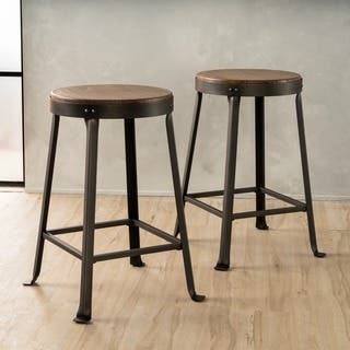 Emery 24-inch Brown Weathered Wood Counter Stool (Set of 2) by Christopher Knight Home|https://ak1.ostkcdn.com/images/products/12874086/P19634401.jpg?impolicy=medium