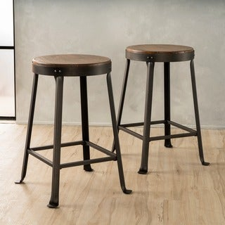 Emery 24-inch Brown Weathered Wood Counter Stool (Set of 2) by Christopher Knight Home