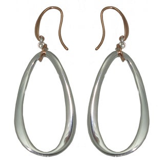 Isla Simone - Fine Silver And 18 Karat Rose Gold Electro Plated Contoured Ellipse Earring