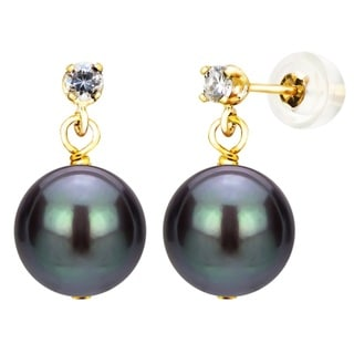 DaVonna 14k Yellow Gold 1/10tcw Diamond 9-10mm Black Freshwater Cultured Pearl Stud Earrings