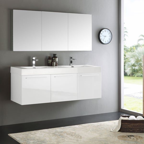 Shop Fresca Vista White 60 Inch Wall Hung Double Sink Bathroom