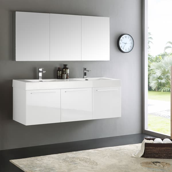 Fresca Vista White 60 Inch Wall Hung Double Sink Bathroom Vanity With Medicine Cabinet Overstock 12874202