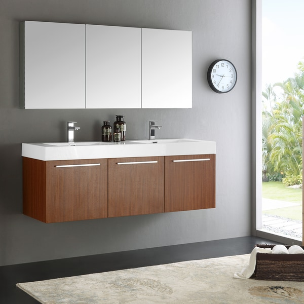 Fresca Vista Teak 60-inch Wall-hung Double-sink Modern Bathroom Vanity ...