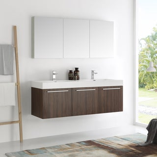 Fresca Vista Walnut 60-inch Wall-hung Double-sink Bathroom Vanity with Medicine Cabinet