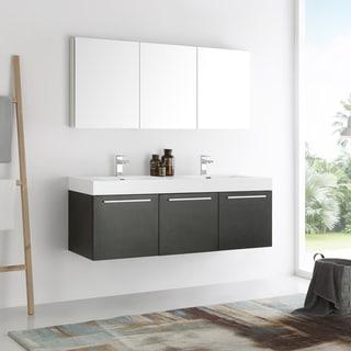 Fresca Vista Black Acrylic and Resin 60-inch Double Sink Bathroom Vanity with Medicine Cabinet