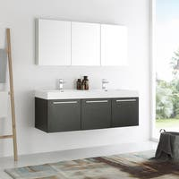 Fresca Vista Black Acrylic and Resin 60-inch Double Sink Bathroom Vanity with Medicine Cabinet