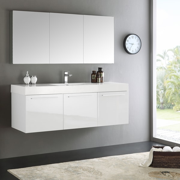 Fresca Vista 60 White Wall Hung Single Sink Modern Bathroom Vanity W Medicine Cabinet