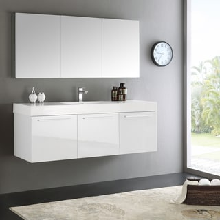 "Fresca Vista 60"" White Wall Hung Single Sink Modern Bathroom Vanity w/ Medicine Cabinet"