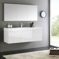 "Fresca Vista 60"" White Wall Hung Single Sink Modern Bathroom Vanity w/ Medicine Cabinet"