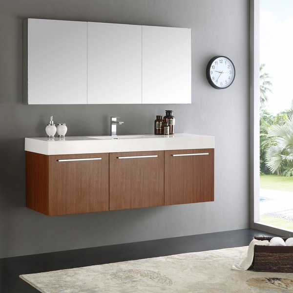 Shop fresca vista teak 60 inch wall hung single sink modern bathroom vanity with medicine 60 in bathroom vanities with single sink
