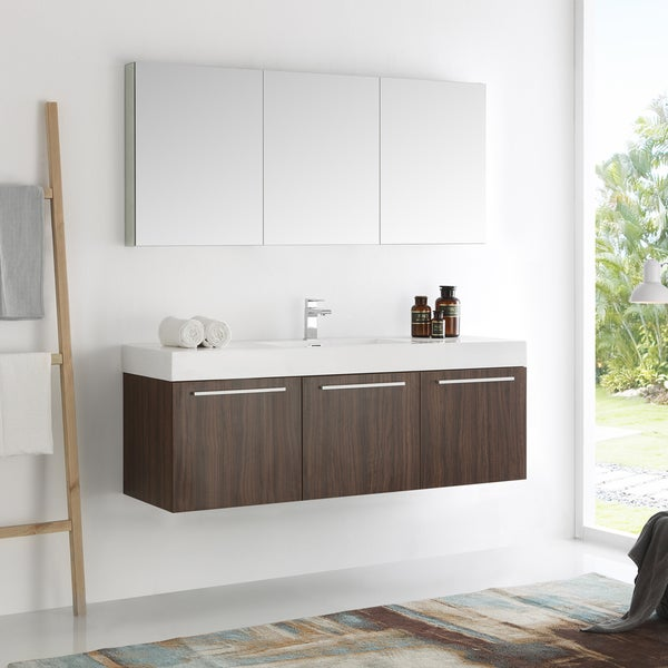 Shop fresca vista walnut 60 inch wall hung single sink - Where to shop for bathroom vanities ...
