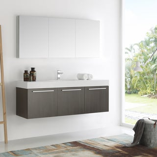 Fresca Vista Grey Oak and Aluminum 60-inch Single-sink Modern Bathroom Vanity with Medicine Cabinet