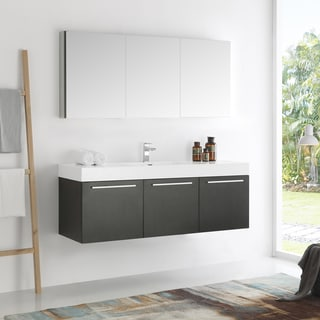 Fresca Vista Black Wall-hung Single-sink Modern Bathroom Vanity with Medicine Cabinet