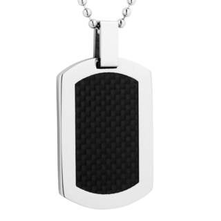 Men's Stainless Steel and Carbon Fiber Dog Tag