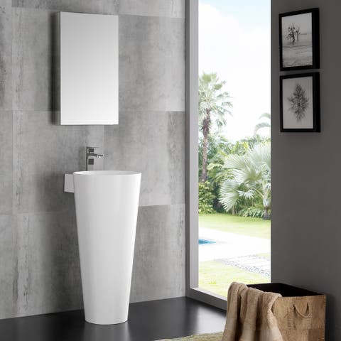 Fresca Messina White 16-inch Modern Bathroom Vanity With Pedestal Sink and Medicine Cabinet