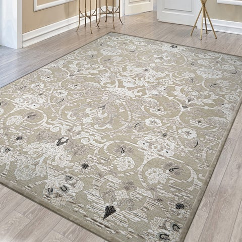 "Couristan Ciré Aurora Regal Mushroom-Antique Cream Area Rug - 5'3"" x 7'6"""