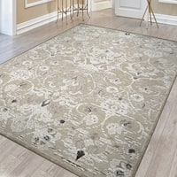 "Couristan Ciré Aurora Regal/Mushroom-Antique Cream Area Rug - 5'3"" x 7'6"""