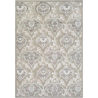 Couristan Cire Renaissance/Mushroom-Antique Cream, Viscose/Courtron Polypropylene Chenille Yarn Power-loomed Rug (5'3 x 7'6)